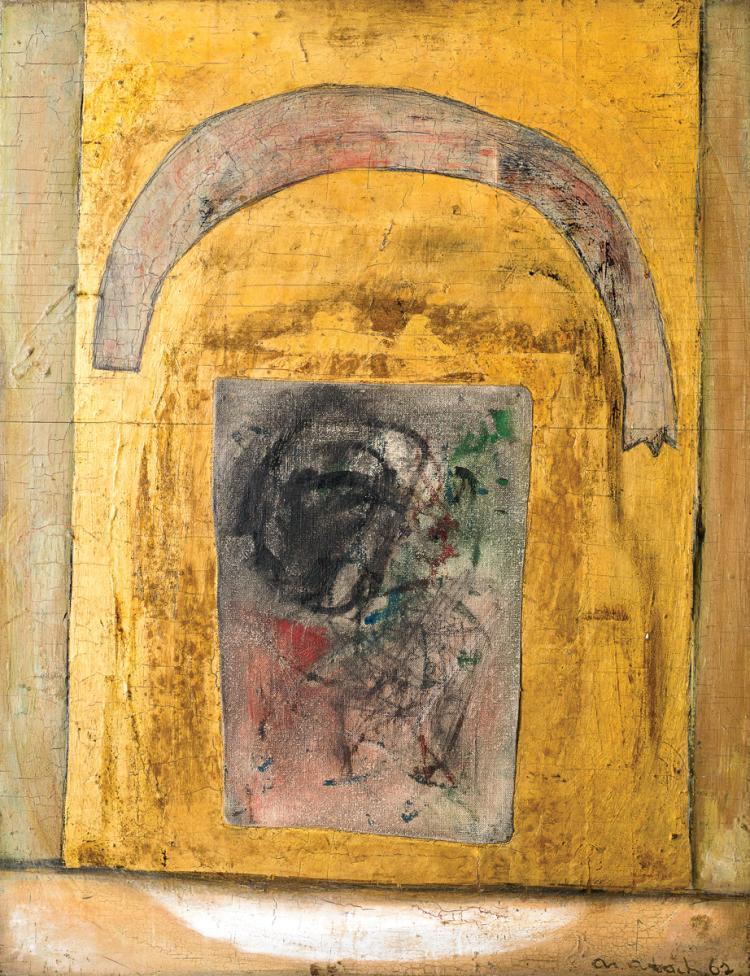 Arieh Aroch, 1908-1974, Pink Arch on Gold, 1962