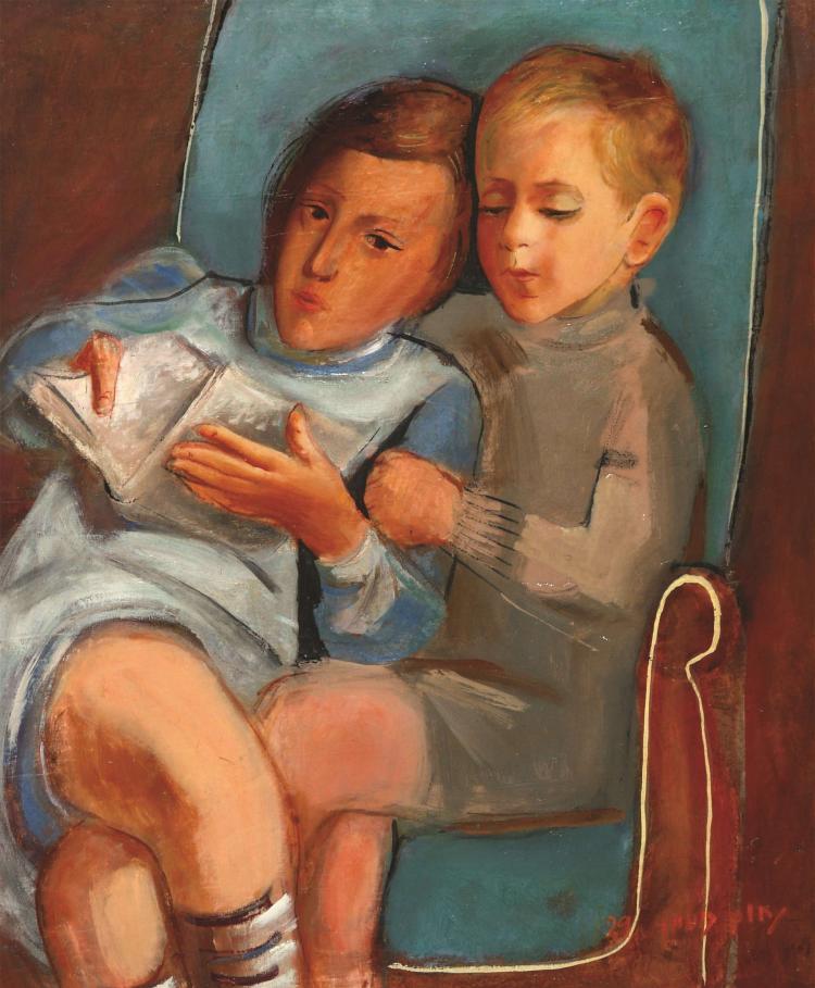 Nachum Gutman, 1898-1980, The Children Aviva and Jacob Rechter,1929
