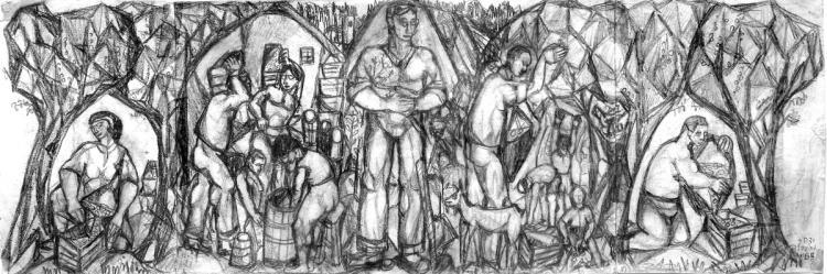 Yitzhak Greenfield, b. 1932, Olive Harvest , 1953