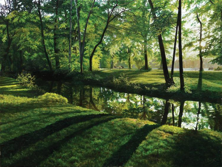 Leonid Obolsky, b. 1951, The English Garden in Munich