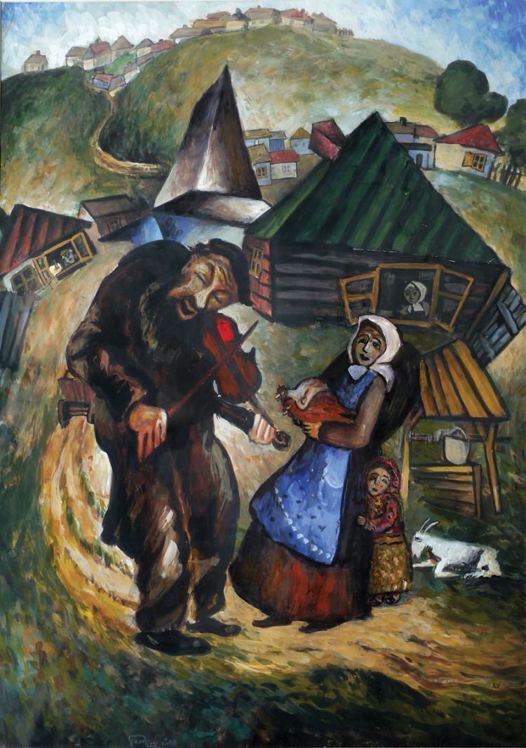 Issachar Ber Ryback, 1897-1935, Fiddler in a Shtetl