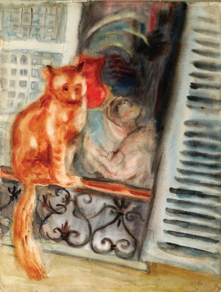 Issachar Ber Ryback, 1897-1935, Cat on the Windowsill