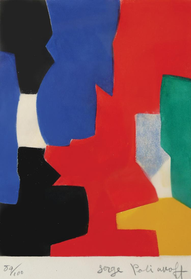 Serge Poliakoff, 1900-1969, Composition in Blue, Red, Green and Black, 1958