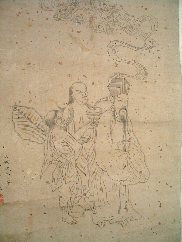 Line Art Painting : Chinese ink line drawing painting signed