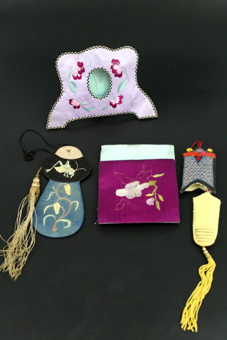 Group Of Chinese Embroidery Items.