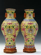 Pair of Chinese Famille Rose Porcelain Wall Pockets.,