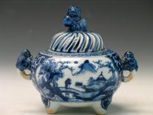 Japanese Blue and White Porcelain Incense Burner,