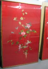 Pair of Huge Chinese Embroidery Panels, Framed.