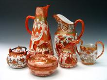 Group of Seven Pieces of Japanese Kutani Porcelains