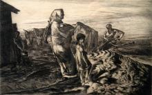 Fall Plowing, Etching, by John E Castigan NA (1888 - 1972), American artist.