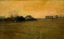 Pa Homestead Tonalist Painting, Mixed Media, by William Langson Lathrop