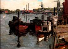 Harbor Scene, Oil on Board in Hackman Custom Gold Feaf Frame.