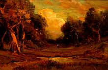Clearing in the Woods with Two Figures in Original Period Frame, by Manuel Valencia
