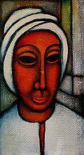 Woman in White Turban, Gouache on Board, by Charles Sebree