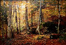 Forest Interior Scene Keene Valley Adirondacks Mountains in Original Frame, by Roswell Morse Shurtleff.