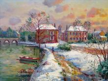 Neige A Moret Sur Loing, Oil on Canvas, signed by Jean Francois Bourgeat.