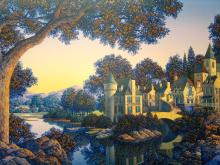 Hotel L'Ecluse, Serigraph on panel, by Jim Buckels.