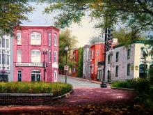 34th and M Street, Georgetwon. Oil Painting on Canvas, by B. Jung.