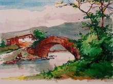 Bridge. By Salvador Caballero. Artist Signed Watercolor