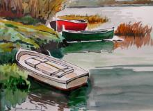 Boat scene, by Ramon Pujol. Artist Signed Watercolor on