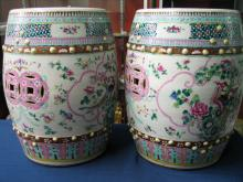Pair Chinese famille rose porcelain garden seats.