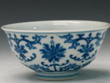 Chinese Blue and White Porcelain Bowl, Qianlong Mark.