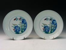 A pair of Chinese doucai dishes. Yongzheng Mark.