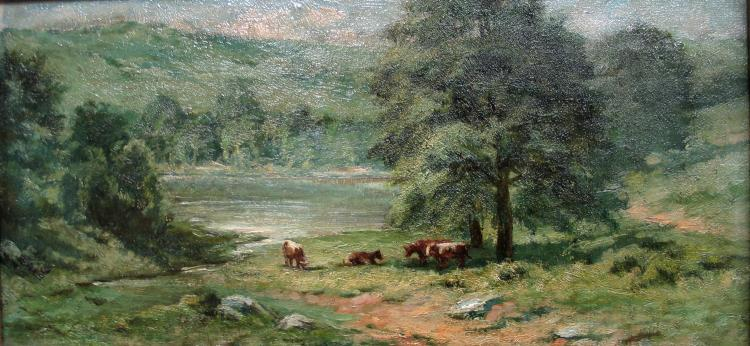 PA Landscape with Cows, Oil on Canvas, board in period