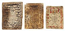 . Lot, 3 shivitis on parchment in a small format.