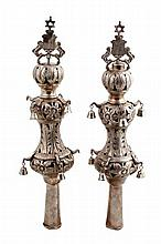 Pair of finials for a sefer torah plated in silver, Russian immigrants – Russia/USA