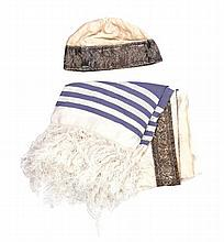Hat and tallit for a chazzan – silk and silver, Eastern Europe.