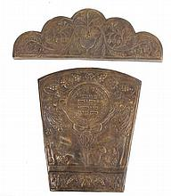 Shiviti panel for a synagogue, two pieces, cast brass