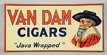 Van Dam Cigars Embossed Tin Sign.