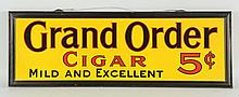 Grand Order Cigars Tin Self-framed Sign.