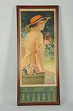 1916 Coca-Cola Calendar with Glass.