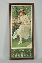 1917 Coca-Cola Calendar with Bottle.