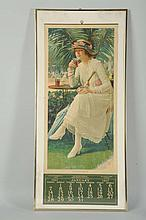 1917 Coca-Cola Calendar with Glass Shown.