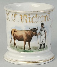 Butcher with Steer Shaving Mug.