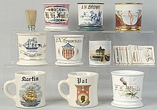 Lot of 9: Assorted Shaving Mugs.