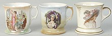 Lot of 3: Female Portrait Shaving Mugs.