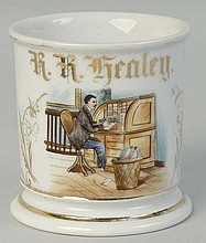 Man at Desk Shaving Mug.