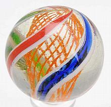 Stunning Orange Latticino Swirl Marble.