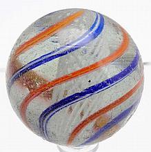 Large White Latticino Swirl Marble.