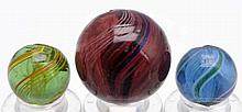 Lot of 3: Colored Glass Swirl Marbles.