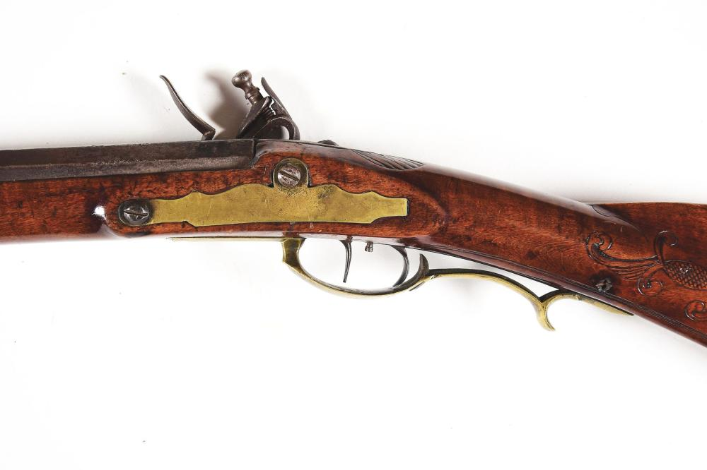 Lot 2175: (A) ADAM ANGSTADT ATTRIBUTED FLINTLOCK KENTUCKY RIFLE.