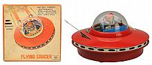 Tin Litho & Painted Battery Op. Flying Saucer.