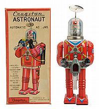 Tin Litho Battery Op. Cragstan Astronaut Robot.
