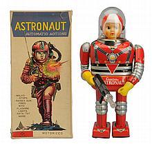 Tin Litho Battery Op. Cragston Astronaut.