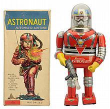 Tin Litho Battery Op. Cragston Astronaut Robot.