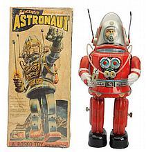 Tin Litho Battery Op. Rostro Astronaut Robot.